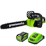Greenworks G-MAX 40V 16-Inch Cordless Chainsaw, 4AH Battery...