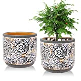 2 Pack Ceramic Plant Pots, Vivimee 5 Inch Flower Pot Set,...